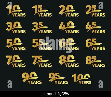 Isolated golden color numbers with word years icons collection on black background, birthday anniversary greeting - Stock Photo