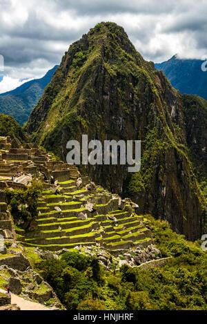 View of the Lost Incan City of Machu Picchu near Cusco, Peru. Machu Picchu is a Peruvian Historical Sanctuary. - Stock Photo