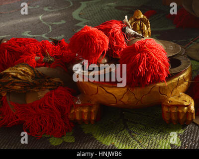 Gamelan Balinese orchestra musical instruments, set of photos (scene after the rain). Indonesia - Stock Photo