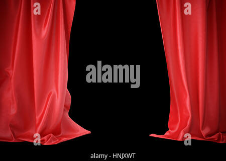 Red silk curtains for theater and cinema spotlit light in the center. 3d rendering - Stock Photo