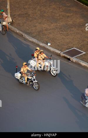 Police motorcycles Ben Thanh traffic circle, Ho Chi Minh City (Saigon), Vietnam - Stock Photo