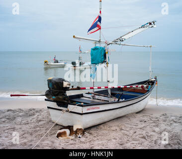 Boat on the beach Hua Hin Thailand - Stock Photo
