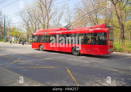 Budapest, Hungary - April 15, 2016.  Local bus in Budapest. - Stock Photo