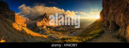 Sunset panorama at Tre Cime Di Lavaredo, Dolimites, Italy - Stock Photo