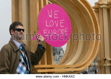 A man holds a pro Europe sign  in Budapest, Hungary - Stock Photo