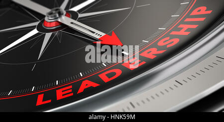 3D illustration of a compass with needle pointing the word leadership over black background. Concept of superiority. - Stock Photo