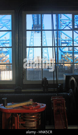 The transporter bridge over the Tees in Middlesbrough seen from the winding house from which the movement of the - Stock Photo