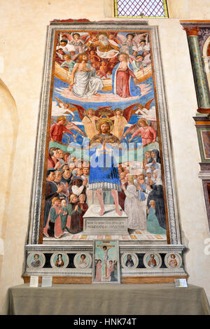 st sebastian, medieval fresco by Benozzo Gozzoli (AD 1464), church of st augustine, san gimignano, tuscany, italy - Stock Photo