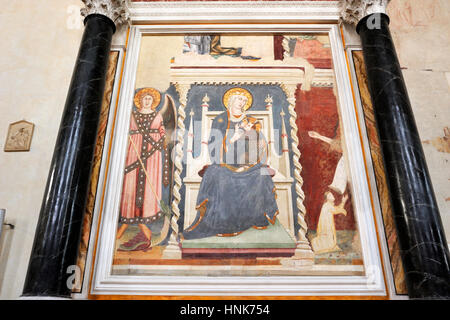 madonna with baby by Lippo Memmi (AD 1317), the oldest fresco in san gimignano, church of st augustine, san gimignano, - Stock Photo