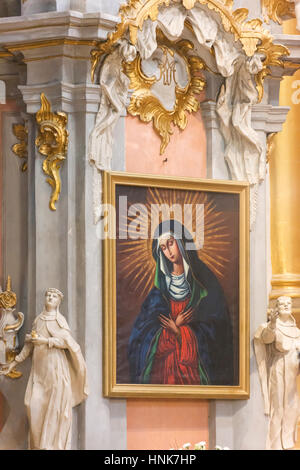 Our Lady of the Gate of Dawn in the Church of St. Teresa, Vilnius. - Stock Photo