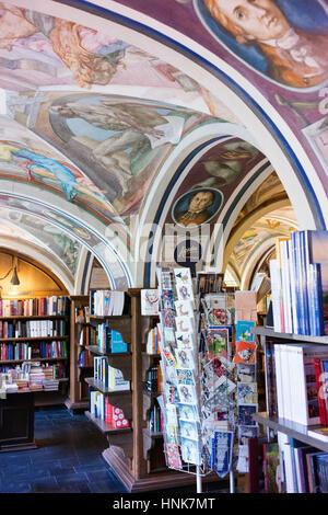 Murals in the Vilnius University bookstore. - Stock Photo