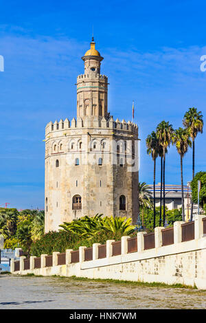 The Torre del Oro (Gold Tower), Seville, Andalusia, Spain. It was observation tower. - Stock Photo