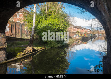 Beautiful View of Birmingham Canal with Canal Boats Seen - Stock Photo