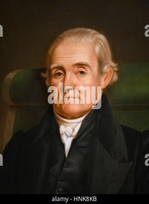Noah Webster (1758-1843), portrait by James Herring, oil on wood panel, 1833. Webster was a lexicographer famous - Stock Photo