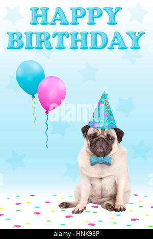 cute grumpy faced pug puppy dog with party hat, balloons, confetti and text happy birthday, on blue background - Stock Photo