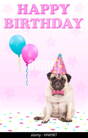 cute grumpy faced pug puppy dog with party hat, balloons, confetti and text happy birthday, on pink background - Stock Photo