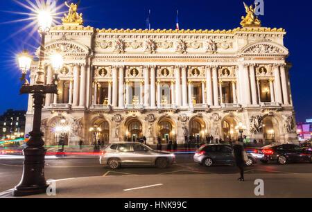 The Opera National of Paris at night. - Stock Photo