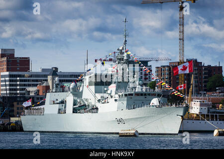 Royal Canadian Navy warship HMCS ST. JOHN'S dressed overall in flags for Canada Day on the Halifax waterfront, Nova - Stock Photo