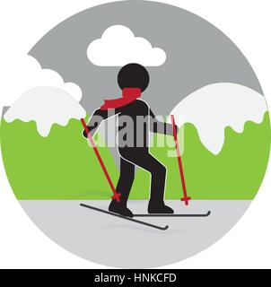 colorful circular landscape with skier vector illustration - Stock Photo