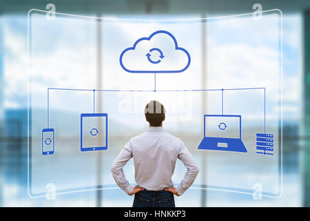 Cloud synchronizing between devices concept with a virtual screen showing mobile phone, tablet and laptop computer - Stock Photo