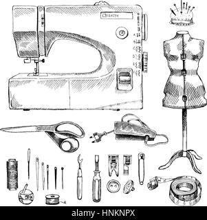 Hand Drawn Sketch Sewing Set - Stock Photo
