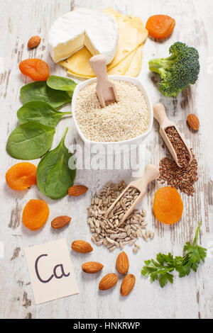 Ingredients or products containing calcium and dietary fiber, natural sources of minerals, healthy lifestyle and - Stock Photo