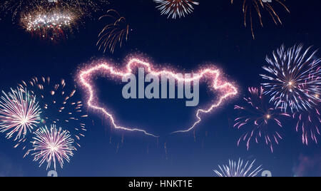 A dark night sky with a sparkling red firecracker in the shape of Mongolia composed into.(series) - Stock Photo