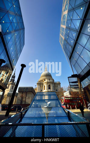 London, England, UK. St Paul's Cathedral seen from One New Change shopping centre - Stock Photo