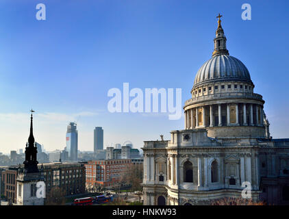 London, England, UK. St Paul's Cathedral seen from One New Change shopping centre roof terrace - Stock Photo
