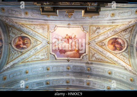 Chiesa San Vittore in Porlezza, Ceiling art fresco in the church on Lake Lugano in the Province of Como in the Italian - Stock Photo