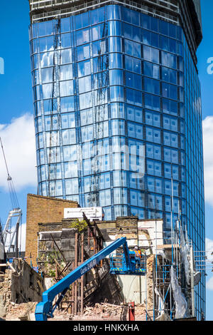 Construction work at the One Blackfriars site with demolition work in the foreground, London, UK - Stock Photo