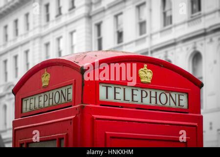 British red telephone box, London, UK - Stock Photo
