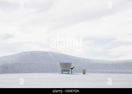 Picnic table and shelter at White Sands National Park - Stock Photo