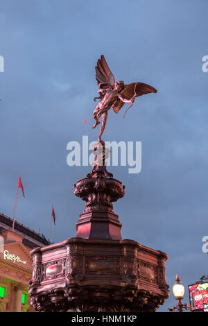 Shaftesbury Memorial Fountain, known as Statue of Eros ,on Piccadilly Circus,Londo,England - Stock Photo
