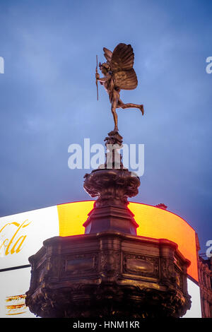 Side View of Shaftesbury Memorial Fountain, known as Statue of Eros ,on Piccadilly Circus,Londo,England - Stock Photo