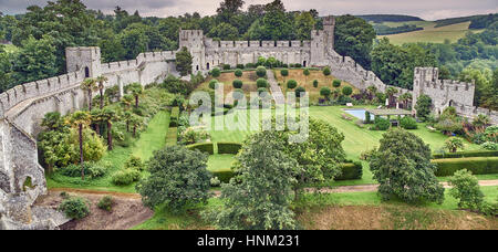 An English castle and grounds from above