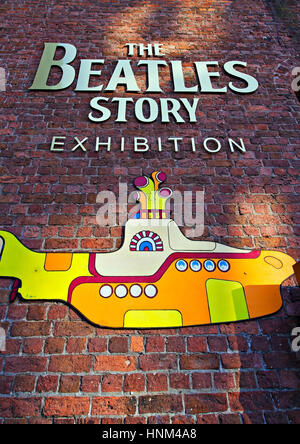 Liverpool UK, 5th JANUARY 2017, The Beatles Story Exhibition Sign, at Albert Dock, Liverpool, UK. A popular tourist - Stock Photo