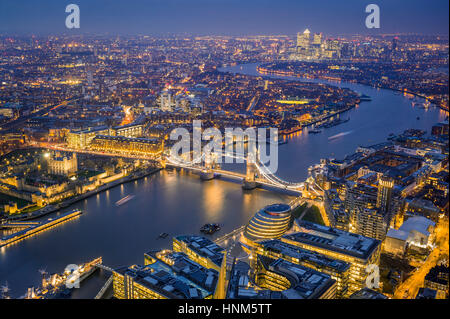 London, England - Aerial Skyline view of London. This view includes the Tower of London, the iconic Tower Bridge, - Stock Photo