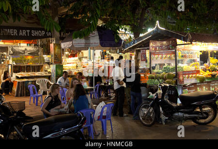 People on Street 11 in Siem Reap - Cambodia - Stock Photo