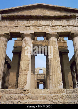 Italy. Sicily. Agrigento. Valley of the Temples. Temple of Concordia, ca.440-430 BC. Doric style. UNESCO World Heritage - Stock Photo
