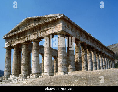 Sicily. Temple of Segesta. Built ca. 420 BC. Doric style. Trapani Province. Italy. - Stock Photo