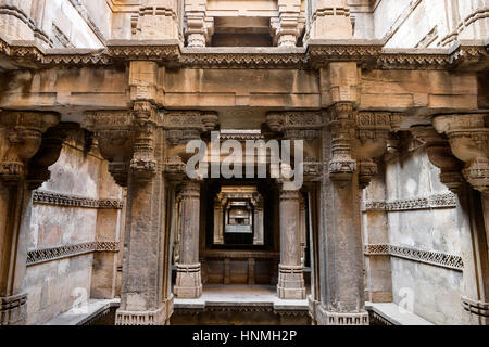 Dada Hari ni Vav stepwell is a Hindu water building in the village of Adalaj, close to Ahmedabad town in the Indian - Stock Photo