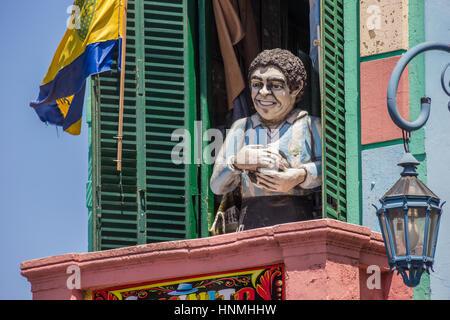 Statue of Diego Maradona in la Boca in Buenos Aires, Argentina - Stock Photo