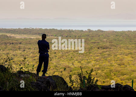 A Guard Looks Out Over The Nechisar National Park, Arba Minch, Ethiopia - Stock Photo