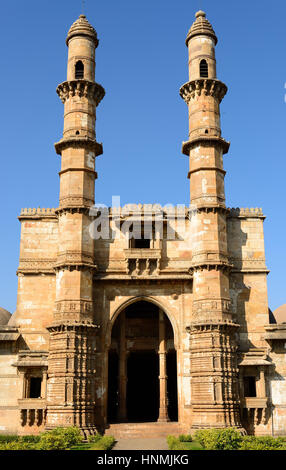 Champaner - Pavagadh Archaeological Park is a historical city in the state of Gujarat. Jami Masjid mosque. (UNESCO) - Stock Photo