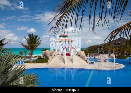 Santa Maria, Cuba - January 31,2017:  Swimming pool in Hotel Gaviota Cayo Santa Maria.Cuba main industry has become - Stock Photo