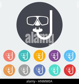 Diving. Single flat icon on the circle. Vector illustration. - Stock Photo