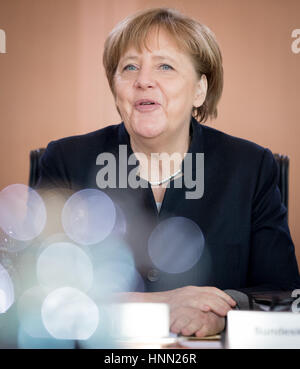 Berlin, Germany. 15th Feb, 2017. German Chancellor Angela Merkel (CDU) sits at the start of a federal cabinet meeting - Stock Photo