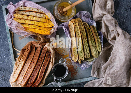 Variety of ombre pancakes - Stock Photo