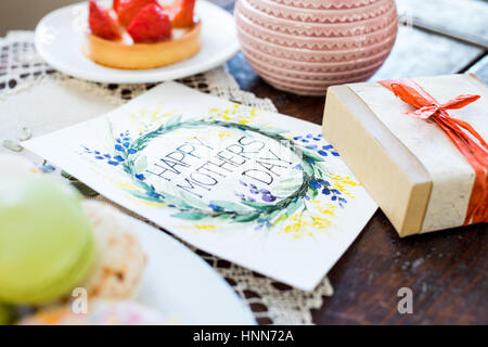 Gift box and greeting card - Stock Photo